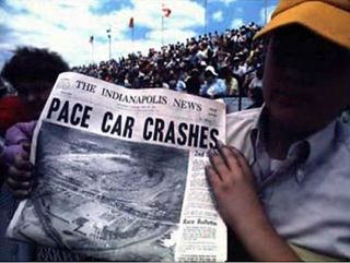 Newspaper headline on Indy Crash 1971