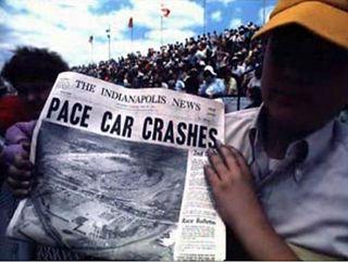 Newspaper headline on Indy Crash 1971