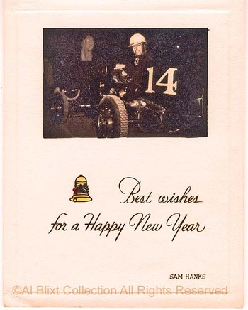Auto Racing Christmas Cards on Sam Hanks Christmas Card Ca 1940