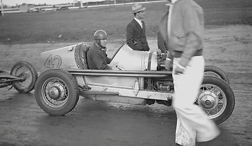 Car #42 & Driver - Detroit 100 Mile Race 1936